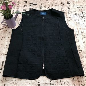 FACONNABLE Quilted-Sewn Vest Black Full-Zip Jacket